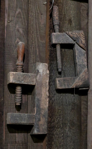 Wooden clamps.